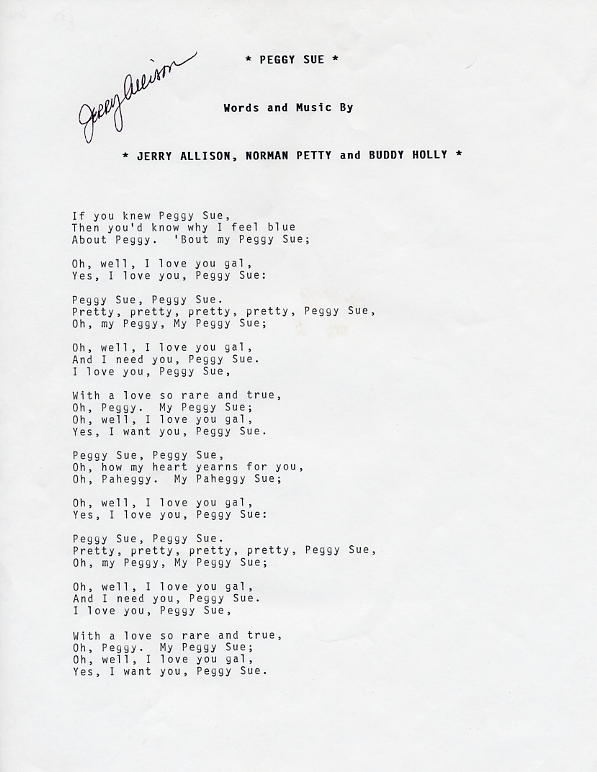 Allison, Jerry - Peggy Sue Lyrics