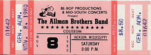 Allman Brothers Band Concert Ticket