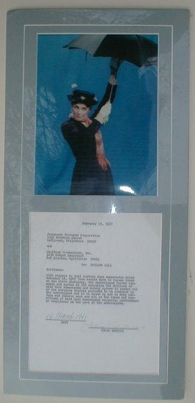 Andrews, Julie (1935- ) signed contract matted with photo