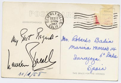 Bacall, Lauren (1924- ) Photographic postcard signed on reverse