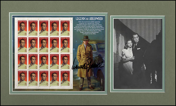 Bacall, Lauren autographed block stamps matted with photo
