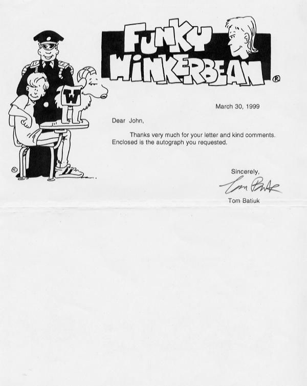 Batiuk, Tom - Creator of 'Funky Winkerbeam' signed Letter