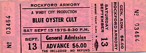Blue Oyster Cult Concert Ticket