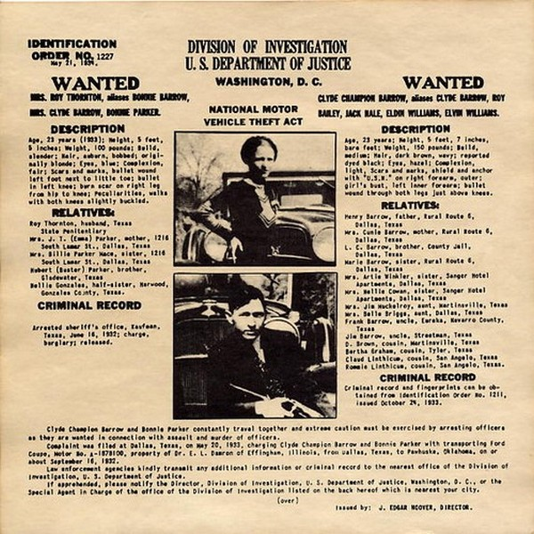 Bonnie & Clyde - Original FBI Wanted Poster