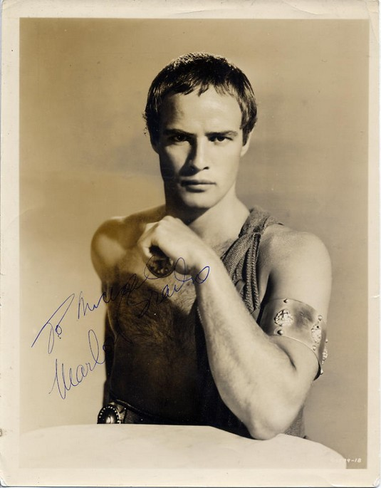 Brando, Marlon -Signed Vintage photo 1953 as Marc Anthony<b>SOLD