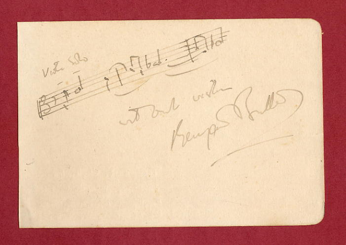 Brtten, Benjamin - Signed musical quote