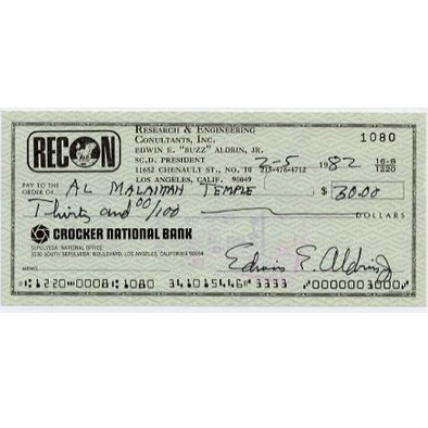 Aldrin, Buzz Apollo 11 Astronaut Rare Signed Cheque<b> SOLD