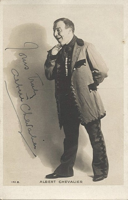 Chevalier, Albert autograph postcard SOLD