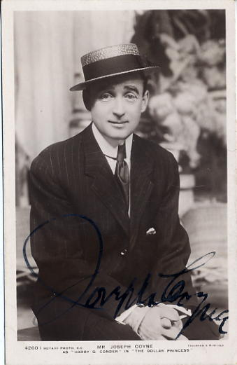 Coyne, Joseph (1869-1941) autographed postcard photo SOLD