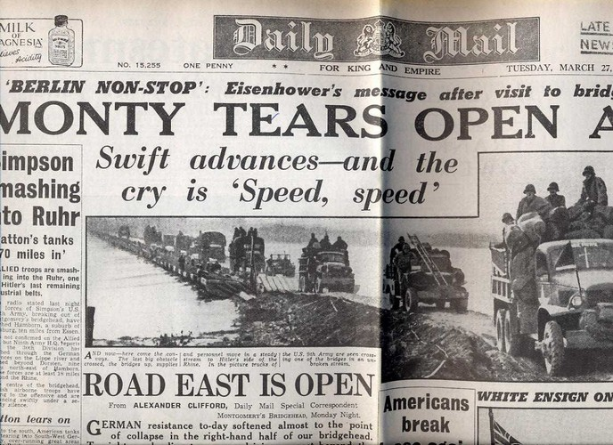 1945 March 27 Daily Mail - Monty Tears Open A Gap