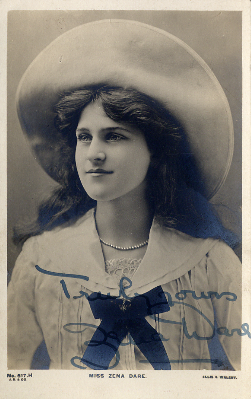 Dare, Zena (1887-1975) - signed sepia photo postcard <b>SOLD</b>