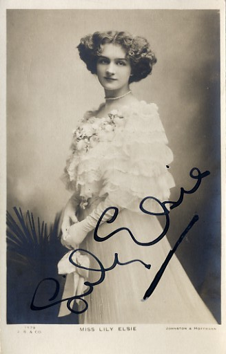 Elsie, Lily (1886 - 1962) - signed sepia photo postcard <b>SOLD