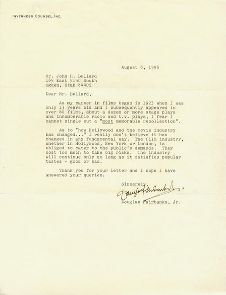 Fairbanks Jr., Douglas - signed typed letter