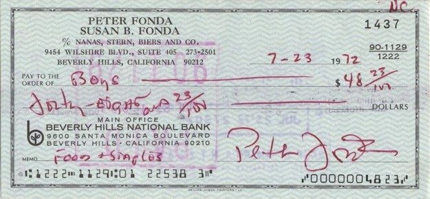 Fonda, Peter - signed cheque