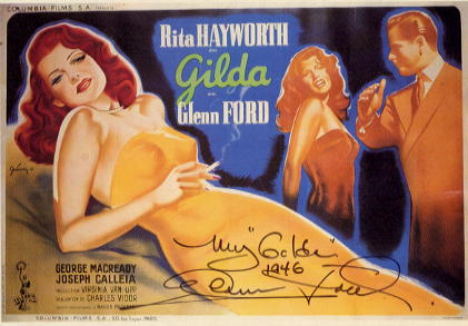 Ford, Glenn signed postcard from 1946 Noir Classic Gilda <b>SOLD