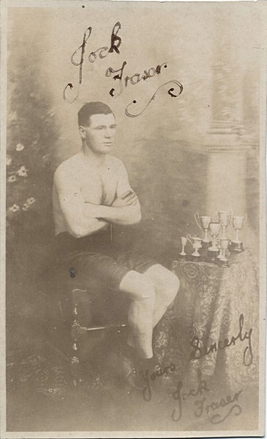 Fraser, Jock champion boxer, signed photographic postcard