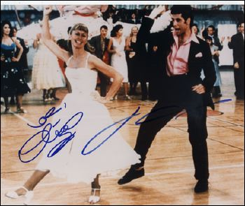 Grease - signed by Olivia Newton-John & John Travolta.
