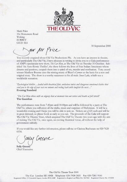 Greene, Sally - signed typed letter from The Old Vic