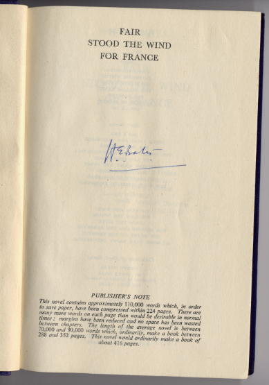 Bates, H.E. - Fair Stood the Wind for France - signed copy 1944