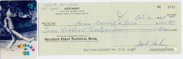 Haley, Jack (1899-1979) - signed cheque + Wizard of Oz phonecard