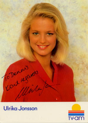 Jonsson, Ulrika - signed postcrd fron TV AM
