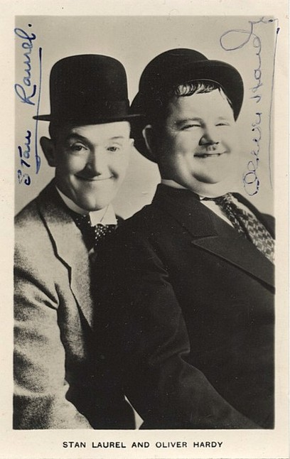 Laurel & Hardy autographed photo postcard