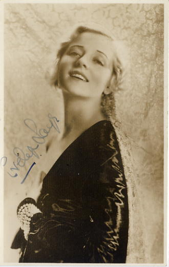 Laye, Evelyn - autographed sepia postcard photo <b>SOLD</b>