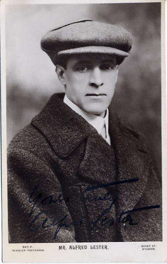 Lester, Alfred - autographed postcard photo