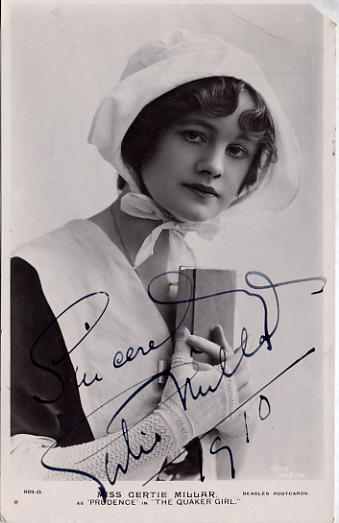 Millar, Gertie - autographed postcard photo <b>SOLD</b>