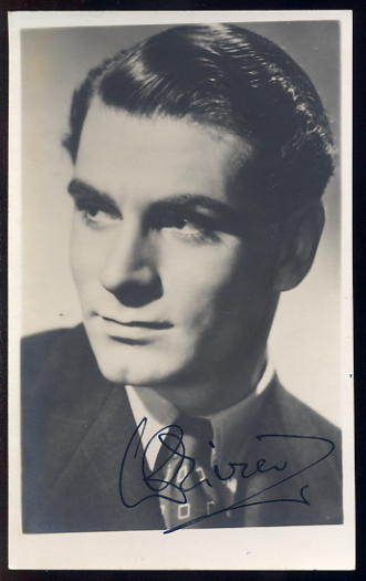 Olivier, Laurence - Autographed postcard <b>SOLD</b>