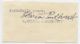 Pankhurst, E.Sylvia - Suffragette - signed clipped letter piece
