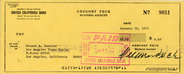Peck, Gregory (1916-2003) Actor - Signed Cheque