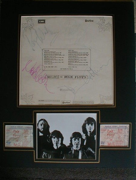 Pink Floyd - signed album plus concert tickets matted
