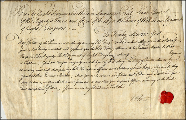 Pitt, William Augustus Vellum Document Signed