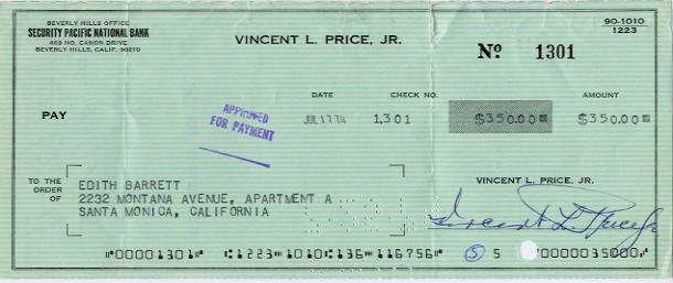 Price, Vincent (1911-1993) Actor - Signed Cheque