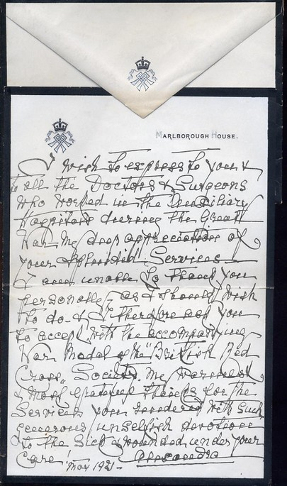 Queen Alexandra - Handwritten letter signed 1921