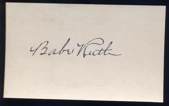 Ruth, Babe  - Autographed cut slip <b>SOLD</b>