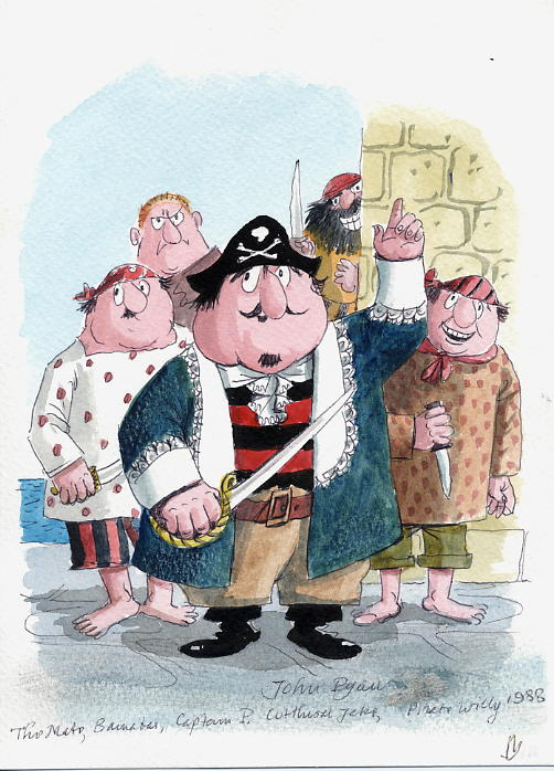 Ryan, John - Watercolour Captain Pugwash & Crew SOLD