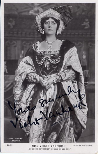 Vanbrugh, Violet - autographed postcard photo <b>SOLD</b>