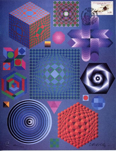 Vasarely, Victor - Lithograph signed.