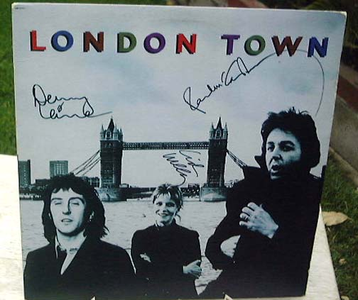 "Wings ""London Town"" signed by Paul & Linda McCartney & Denny Lai"